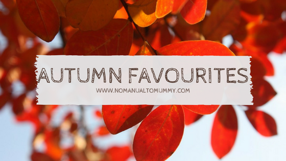 Autumn leaves in background and title text